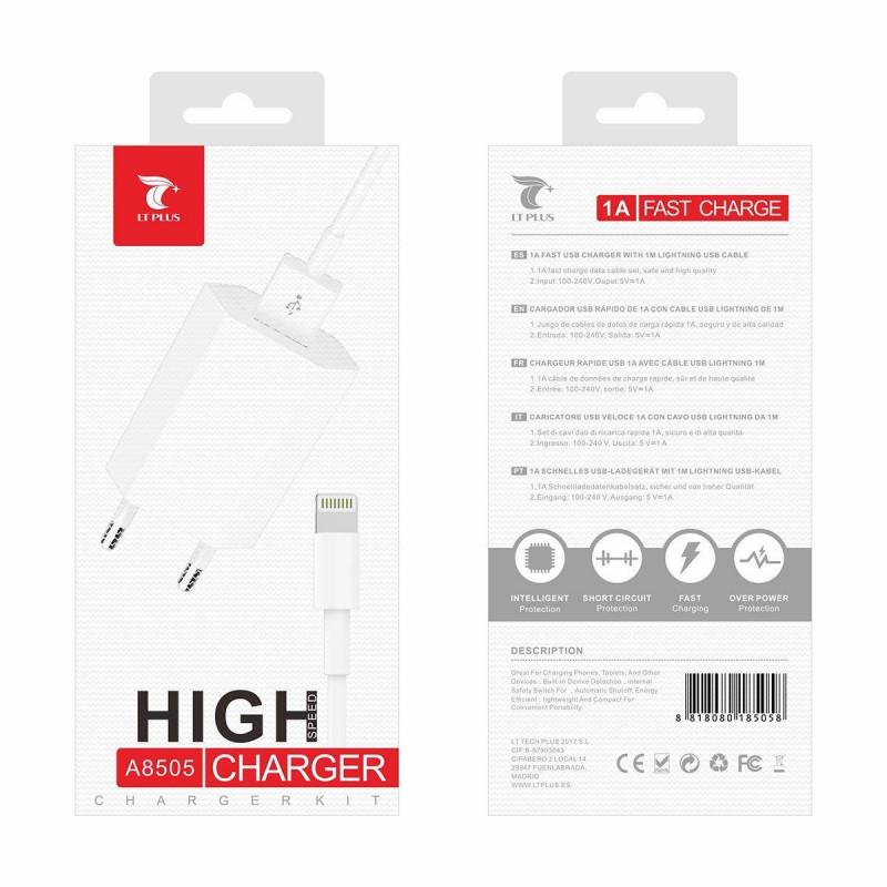 LT PLUS A8505 ALTA CALIDAD CARGADOR CON LIGHTNING USB 1A