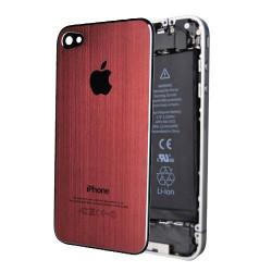 Tapa Trasera Metal Cepillado iPhone 4S - Rojo