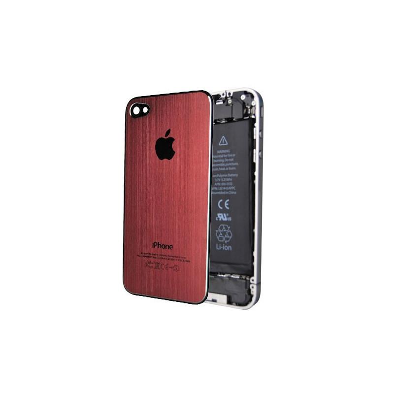 Tapa Trasera Metal Cepillado iPhone 4 - Rojo